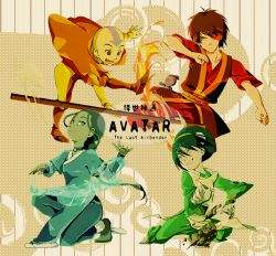 2girls 3boys aang avatar:_the_last_airbender bald choker color-coded copyright_name fire katara kinako_(moment) kneeling multiple_boys multiple_girls open_mouth rock scar smile sokka staff tagme tattoo toph_bei_fong water wristband zuko