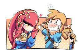 1boy 2girls berryverrine blonde_hair blush expressive_hair flying_sweatdrops heart jealous jewelry link mipha monster_girl multiple_girls necklace one_eye_closed pointy_ears princess_zelda saliva shaded_face shark_girl smile the_legend_of_zelda the_legend_of_zelda:_breath_of_the_wild yellow_eyes zora