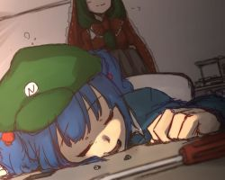 2girls blue_hair blurry bow colored commentary_request eyes_closed green_hair hair_bobbles hair_bow hair_ornament hair_ribbon hat head_out_of_frame kagiyama_hina kawashiro_nitori long_hair long_sleeves multiple_girls open_mouth out_of_frame puffy_sleeves ribbon screw screwdriver short_hair short_sleeves sitting sketch sleeping smile terimayo touhou two_side_up