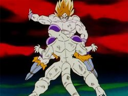 2boys 90s alien animated animated_gif battle boots dragon_ball dragonball_z frieza male_focus multiple_boys namek red_sky shirtless slapping son_gokuu super_saiyan tail violence