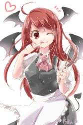 1girl ;q ahoge alternate_costume apron artist_name ascot bat_wings breasts collared_shirt colored_eyelashes commentary_request contrapposto cowboy_shot demon_tail dress_shirt enmaided eyelashes finger_to_mouth head_wings heart koakuma long_hair looking_at_viewer maid o-k-u one_eye_closed pinky_out red_eyes red_hair shirt short_sleeves simple_background skirt skirt_set smile solo tail tongue tongue_out touhou very_long_hair vest waist_apron whisk white_background white_shirt wings