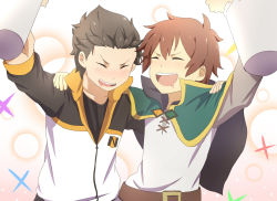 2boys blush brown_hair cape crossover drink drooling drunk eyes_closed highres kawakun kono_subarashii_sekai_ni_shukufuku_wo! multiple_boys natsuki_subaru open_mouth re:zero_kara_hajimeru_isekai_seikatsu satou_kazuma smile track_suit trait_connection