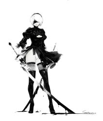 1girl bangs black_boots black_dress black_gloves black_hairband black_legwear black_ribbon blindfold blood blood_drip bloody_weapon boots breasts cleavage cleavage_cutout closed_mouth covered_eyes dress dual_wielding feather-trimmed_sleeves feather_trim full_body gloves groin hair_over_one_eye hairband high_heel_boots high_heels highleg highleg_leotard highres holding holding_sword holding_weapon juliet_sleeves katana legs_apart leotard lips long_sleeves looking_at_viewer medium_breasts mole mole_under_mouth monochrome nier_(series) nier_automata nose pink_lips puffy_sleeves ribbed_dress ribbon short_dress short_hair side_slit simple_background solo spot_color standing sulahax sword tassel thigh_boots thighhighs thighs torn_clothes torn_dress vambraces weapon white_background white_hair white_leotard yorha_no._2_type_b