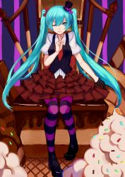 1girl aqua_eyes aqua_hair chair hat hatsune_miku highres long_hair mini_top_hat one_eye_closed pantyhose ryuuno6 sitting skirt smile solo striped striped_legwear sweets top_hat twintails very_long_hair vocaloid