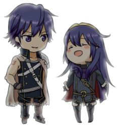 1boy 1girl blue_eyes blue_hair blush chibi eyes_closed father_and_daughter fire_emblem fire_emblem:_kakusei krom lucina nintendo smile