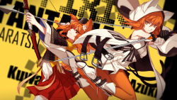 2girls aiming animal_ears armor armpits arrow bare_shoulders belt belt_buckle black_gloves boots bow_(weapon) buckle closed_mouth cowboy_shot crossed_arms detached_hood detached_sleeves expressionless fletches fox_ears fox_tail garrison_cap gloves hair_between_eyes hakama_skirt hat highres holding holding_sword holding_weapon hood japanese_armor japanese_clothes kimono kitsune knee_boots long_hair long_sleeves looking_at_viewer multiple_girls o-ring open_clothes open_vest orange_eyes orange_hair orange_legwear original outstretched_arm pantyhose pixiv_fantasia pixiv_fantasia_t pleated_skirt red_eyes red_skirt sash skade skirt sleeveless sleeveless_kimono smile sword tail tassel unbuckled_belt unsheathed vest weapon white_boots white_vest wide_sleeves