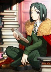 1boy black_eyes black_hair book cloak fate/grand_order fate_(series) holding holding_book looking_at_viewer necktie official_art smile solo takeuchi_takashi upscaled waifu2x waver_velvet