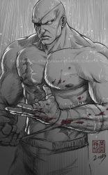 1boy bald blood eyepatch gradient_background handwraps lixin_wang monochrome muscle no_pupils nose pectorals rain sagat scar shirtless solo street_fighter