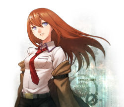 1girl belt blue_eyes breasts brown_hair collared_shirt copyright_name gears hair_between_eyes jacket long_hair looking_to_the_side makise_kurisu necktie nekorin_(nekoforest) off_shoulder shirt solo steins;gate upper_body wind