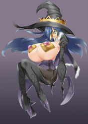 1girl blue_hair bluespice breasts female gigantic_breasts hat long_hair mask original witch_hat