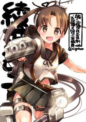 1girl aiming_at_viewer anchor_symbol ayanami_(kantai_collection) blush brown_eyes brown_hair cannon holding holding_weapon kantai_collection long_hair looking_at_viewer machinery nigo open_mouth outstretched_arm pleated_skirt remodel_(kantai_collection) sailor_collar school_uniform searchlight serafuku shirt_lift short_sleeves side_ponytail skirt smile solo turret twitter_username very_long_hair