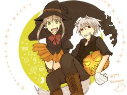 1boy 1girl animal_ears animal_tail bare_legs blonde_hair boots candy candy_cane costume cupcake ghost green_eyes grin halloween happy_halloween hat jack-o'-lantern maka_albarn pumpkin red_eyes short_hair simple_background skirt smile soul_eater soul_eater_evans tail teeth twintails white_background white_hair witch_hat
