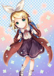 1girl backpack bag bag_charm bangs black_shoes black_skirt blonde_hair blush brown_coat buttons center_frills closed_mouth coat eyelashes flat_chest frilled_sleeves frills gradient gradient_background green_eyes hair_ornament hair_ribbon hairclip headphones headset kagamine_rin kona_(canaria) long_sleeves looking_at_viewer mary_janes microphone musical_note neck_ribbon open_clothes open_coat plaid plaid_background quaver red_ribbon ribbon shirt shoes short_hair skirt smile socks solo swept_bangs unbuttoned vocaloid white_legwear white_ribbon white_shirt