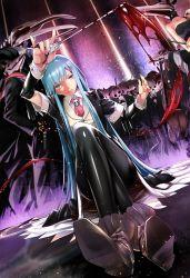1girl black_legwear blood blue_hair boots formal furisuku highres legs_crossed long_hair pantyhose sitting skull smile solo_focus wand