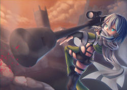 1girl absurdres anti-materiel_rifle ass blue_eyes blue_hair boots chocogingerfingers cloud gun highres muzzle_brake pgm_hecate_ii rifle scarf scope shinon_(sao) sniper_rifle solo standing standing_on_one_leg sword_art_online thighs weapon