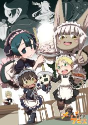 animal_ears bad_food blush_stickers dropping food fur green_eyes highres made_in_abyss maid maid_headdress nanachi_(made_in_abyss) onigiri ouzen_(made_in_abyss) pointing pointing_at_viewer regu_(made_in_abyss) riko_(made_in_abyss) uchuu_ika whiskers white_hair