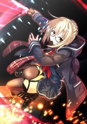 1girl absurdres ahoge black-framed_eyewear black_legwear blonde_hair braid chocolate chocolate_heart dark_persona excalibur fate/grand_order fate_(series) glasses heart heroine_x heroine_x_(alter) highres looking_at_viewer mouth_hold plaid plaid_scarf red_scarf saber saiki_rider scarf school_uniform semi-rimless_glasses solo sword thighhighs under-rim_glasses weapon yellow_eyes