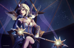 1girl blonde_hair blue_eyes breasts cleavage driflooning elbow_gloves elementalist_lux gloves hair_ornament head_tilt league_of_legends legs_crossed looking_at_viewer luxanna_crownguard medium_breasts short_hair sitting solo throne wand