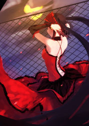 1girl back black_hair date_a_live detached_sleeves dress gun hairband holding_gun holding_weapon lolita_hairband long_hair moon night outdoors red_dress rooftop solo tokisaki_kurumi twintails weapon