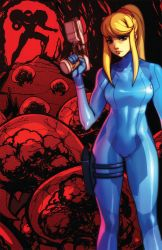 1girl aiming alien arm_cannon armor bangs blonde_hair blue_eyes bodysuit breasts cave dual_persona expressionless gloves gun hair_tie handgun helmet high_ponytail holding holding_weapon holster legs_apart lips long_hair looking_at_viewer metroid metroid_(creature) mole mole_under_mouth pistol ponytail power_armor red robert_porter samus_aran shiny shiny_clothes sidelocks silhouette standing thigh_holster thigh_strap trigger_discipline turtleneck varia_suit weapon zero_suit