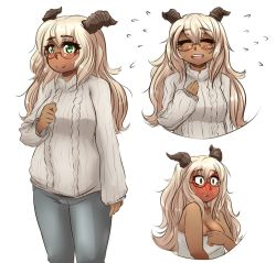 1girl bare_shoulders blush breasts bust cleavage constricted_pupils denim embarrassed eyes_closed full-face_blush glasses goat_girl goat_horns gray_topwear green_eyes jeans large_breasts light_brown_hair liliana_rodica long_hair long_sleeves monster_girl okamaka open_mouth original pants smile solo sweater towel