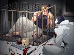 2boys abs bag black_hair blonde_hair blood bloody_clothes blurry bottle cage coat depth_of_field dio_brando hat highres jojo_no_kimyou_na_bouken knife kuujou_joutarou less_end male_focus multiple_boys muscle orange_eyes paper_bag sitting tray wrist_cuffs