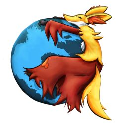 delphox eyes_closed firefox firefox_(browser) no_humans parody pokemon pokemon_(game) pokemon_xy solo