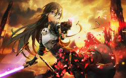 1boy absurdres androgynous black_hair breastplate energy_sword five-seven_(gun) gun handgun highres kirito kirito_(sao-ggo) long_hair pistol purple_eyes sword sword_art_online trap weapon wentirtongmo