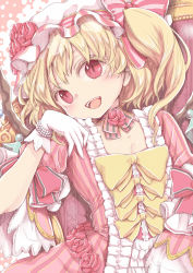 1girl alternate_costume bangs blonde_hair bow chikado detached_collar dress eyelashes flandre_scarlet flower frills gloves hat hat_ribbon looking_at_viewer mob_cap open_mouth pearl puffy_short_sleeves puffy_sleeves red_dress red_eyes red_rose ribbon rose short_sleeves side_ponytail sitting slit_pupils smile solo striped striped_dress striped_ribbon teeth throne touhou white_gloves wings yellow_bow