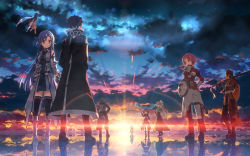 3boys 6+girls agil agil_(sao-alo) asuna_(sao) asuna_(sao-alo) black_hair blonde_hair blue_eyes blue_hair brown_hair cloud from_behind highres kirito kirito_(sao-alo) klein leafa lisbeth lisbeth_(sao-alo) minigirl multiple_boys multiple_girls over_shoulder pina_(sao) red_hair reflection scenery shield shinon_(sao-alo) short_hair silica silica_(sao-alo) sky standing sunrise sword_art_online water weapon weapon_over_shoulder yui_(sao) yuuki_tatsuya