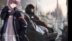 2girls black_eyes black_hair brown_eyes copyright_name hand_in_hair hand_in_pocket highres long_hair multiple_girls outdoors pink_hair pixiv_fantasia pixiv_fantasia_fallen_kings ponytail short_hair signature swd3e2