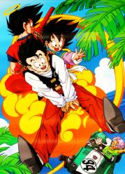 1girl 4boys back-to-back black_eyes black_hair blue_eyes blue_hair brothers bulma cloud dougi dragon_ball dragonball_z father_and_son flying flying_nimbus green_shirt halo happy looking_back multiple_boys number nyoibo official_art open_mouth palm_tree pants purple_hair red_pants shirt shoes short_hair siblings sky smile son_gohan son_gokuu son_goten spiked_hair tree trunks_(dragon_ball) vehicle waving