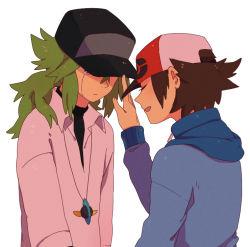 2boys brown_hair green_hair long_hair male_focus multiple_boys n_(pokemon) pokemon short_hair simple_background tagme touya_(pokemon) upper_body white_background yaoi