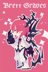 1boy boots brett_graves brown_eyes character_name chibi claws dragon_horns dragon_wings from_side full_body horns jitome lieat long_sleeves lowres miwasiba official_art pointy_ears profile red_background red_hair simple_background solo sparkle standing uniform white_boots wings