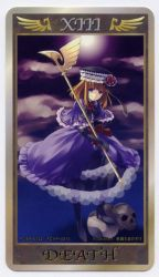 1girl bangs blue_eyes bow death_(tarot_card) dress eva_beatrice hat honda_tamanosuke looking_at_viewer official_art orange_hair skull solo tarot umineko_no_naku_koro_ni