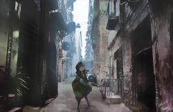 1girl alley aronia artist_name belt black_hair black_legwear building city dated goggles goggles_on_head gun holster long_hair looking_up neck_ribbon original pantyhose plant red_eyes revolver ribbon sign signature sky solo steampunk wall weapon