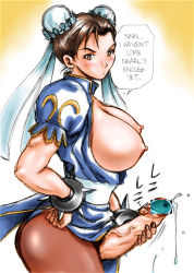 1girl bracelet breasts capcom censored china_dress chinese_clothes chun-li cum dress dusty_heaven futanari gradient gradient_background handjob hard_translated huge_breasts jewelry masturbation nipples open_clothes pantyhose penis solo spiked_bracelet spikes street_fighter
