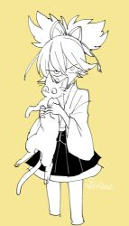 1boy cat cropped_legs holding japanese_clothes l_hakase looking_at_viewer lowres male_focus monochrome sayo_samonji simple_background solo touken_ranbu yellow_background