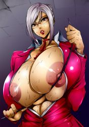 1girl absurdres areola_slip areolae bangs breast_press breasts breasts_outside buttons collarbone collared_shirt fei_(maidoll) gigantic_breasts glasses hair_bun highres huge_breasts lipstick long_sleeves looking_at_viewer nail_polish nipples no_bra open_clothes parted_lips prison_school puffy_nipples red_eyes red_nails shiraki_meiko shirt simple_background solo sweat upper_body whip white_hair
