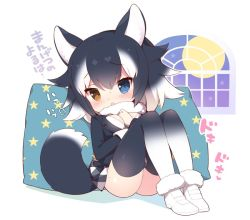 1girl animal_ears black_hair blue_eyes blush chibi full_moon fur_trim grey_wolf_(kemono_friends) hand_on_own_chest heterochromia kemono_friends long_hair moon multicolored_hair pillow pleated_skirt sitting skirt solo tail thighhighs translation_request two-tone_hair watanohara white_background white_hair window wolf_ears wolf_tail yellow_eyes
