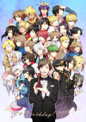 6+boys air ao_no_exorcist arthur_auguste_angel barakamon black_hair blue_hair bowtie brown_hair crow_(nichijou) dated densetsu_no_yuusha_no_densetsu durarara!! erwin_smith gradient gradient_background green_hair gugure!_kokkuri-san gundam gundam_age hanase_kaoru handa_seishuu happy_birthday heiwajima_shizuo hosaka jojo_no_kimyou_na_bouken k_(anime) kamigami_no_asobi koizumi_itsuki kokkuri-san_(gugukoku) kunisaki_yukito kuroko_no_basuke kuroshitsuji kuujou_joutarou llama_(shirokuma_cafe) lucky_star magi_the_labyrinth_of_magic midorima_shintarou minami-ke monochrome_factor multiple_boys nichijou nikaido_akira ono_daisuke real_life ryouji_(dnpj) satou_jun sebastian_michaelis seiyuu seiyuu_connection shingeki_no_kyojin shirokuma_cafe sinbad_(magi) sion_astal starry_sky_(game) sumeragi_kira suzumiya_haruhi_no_yuuutsu tagme tamako_market touzuki_suzuya trophy tuxedo umineko_no_naku_koro_ni ushiromiya_battler uta_no_prince-sama white_hair woolf_enneacle working!! yatogami_kurou