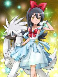 armelle_(pokemon) black_hair blue_dress dress furfrou gloves idol jewelry key long_hair performance pokemoa pokemon pokemon_(anime) ribbon smile tagme white_gloves yellow_eyes
