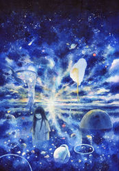 1girl abstract apple bird black_hair blue cloud comet commentary eyes_closed flag floating food frog fruit graphite_(medium) highres horizon long_hair original partially_submerged planet scenery sky solo spoon star_(sky) starry_sky sun sunlight traditional_media water watercolor_(medium) wayukako