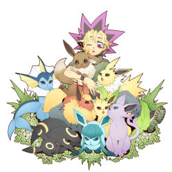 1boy :< :3 blonde_hair chesha crossover eevee espeon flareon glaceon highres jolteon leafeon male_focus multicolored_hair mutou_yuugi one_eye_closed open_mouth pokemon purple_eyes purple_hair simple_background smile spiked_hair trait_connection umbreon vaporeon yu-gi-oh! yuu-gi-ou_duel_monsters