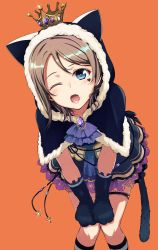 1girl animal_ears bent_over blue_eyes brown_hair capelet cat_ears cat_gloves cat_tail crown halloween highres hood looking_at_viewer love_live! love_live!_sunshine!! nanotsuki one_eye_closed open_mouth short_hair solo tail watanabe_you
