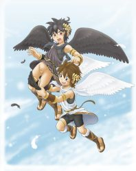 2boys angel bike_shorts blue_eyes bottomless dark_pit erection_under_clothes gauntlets kid_icarus kid_icarus_uprising male mitsui_jun multiple_boys nintendo penis pit_(kid_icarus) short_hair shota sky testicles tunic wings wreath yaoi