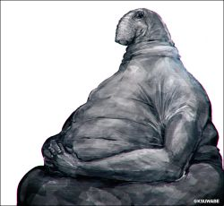 black_eyes creature fat hands_together homunculus_loxodontus kei-suwabe meme sculpture simple_background solo twitter_username white_background