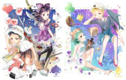 2boys 2girls animal_hat aqua_eyes aqua_hair baby_5 black_hair blonde_hair blue_eyes blue_hair blueberry bow broom cake character_name clubs crown dellinger diamonds dress fish hat hearts high_heels horns iji_(u_mayday) loafers mop multiple_boys multiple_girls one_piece purple_eyes sandals scalpel spades sugar_(one_piece) syringe teapot toy trafalgar_law younger