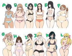 6+girls abs agawa_ryou ahoge bags_under_eyes bangs big_belly bikini black-framed_eyewear black_bikini black_nails blonde_hair blue_hair blush bow boyshorts braid breasts brown_eyes brown_hair cleavage commentary corset crop_top crossed_arms curvy double_v drill_hair eyebrow_piercing fat flat_chest flat_color food forehead glasses gradient_hair green_eyes grin hair_between_eyes hair_bow hair_over_one_eye hand_on_hip huge_breasts kebab large_breasts lineup lip_piercing lips lipstick makeup medium_breasts multicolored_hair multiple_girls nail_polish navel original pale_skin panties piercing pink_hair plump ponytail purple_lipstick red_eyes saliva semi-rimless_glasses short_hair small_breasts smile sports_bra standing strap_gap striped striped_bikini striped_panties swimsuit take_your_pick tan tankini tattoo thick_eyebrows thick_thighs thighs toned towel towel_around_neck tsurime twin_braids twintails under-rim_glasses underwear underwear_only v very_short_hair white_bikini white_panties wide_hips