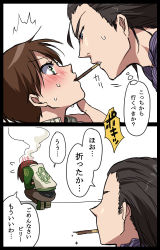 1boy 1girl 2koma billy_coen black_hair blue_eyes blush brown_hair chin_grab comic embarrassed eye_contact flying_sweatdrops green_eyes hand_on_another's_chin looking_at_another myutsusama pocky pocky_kiss rebecca_chambers resident_evil resident_evil_0 short_hair simple_background sweat sweatdrop translated white_background